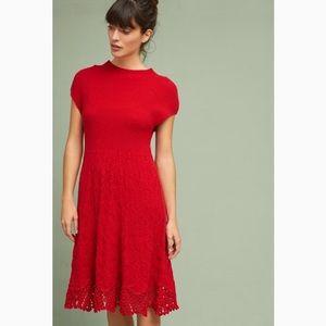 Anthropologie Feather Bone Oda Red Sweater Dress